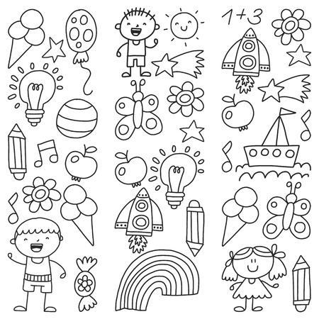 Kindergarten, Monochrome hand drawn children garden elements pattern, doodle illustration, vector, illustration, black, white background