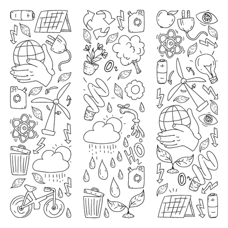 Vector logo, design and badge in trendy drawing style - zero waste concept, recycle and reuse, reduce - ecological lifestyle and sustainable developments icons on monochrome style  イラスト・ベクター素材