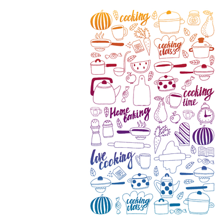 Vector set of children's kitchen and cooking drawings icons in doodle style. Painted, black gradient, pictures on a piece of paper on white background