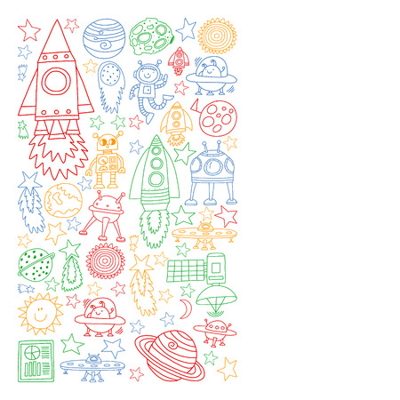 Vector set of space elements icons in doodle style. Painted, colorful, pictures on a piece of paper on white background Иллюстрация