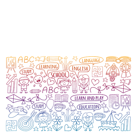 Vector set of learning English language, children's drawingicons icons in doodle style. Painted, black gradient, pictures on a piece of paper on white background