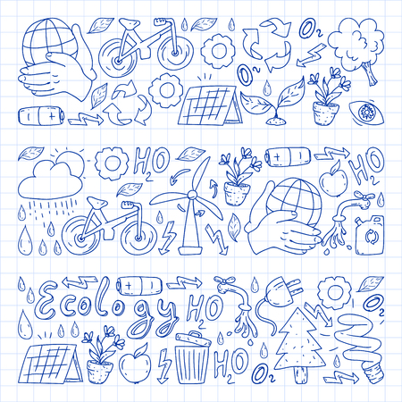 Vector logo, design and badge in trendy drawing style - zero waste concept, recycle and reuse, reduce - ecological lifestyle and sustainable developments icons. pen drawing on checkered paper