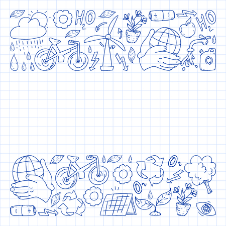 Vector logo, design and badge in trendy drawing style - zero waste concept, recycle and reuse, reduce - ecological lifestyle and sustainable developments icons. pen drawing on checkered paper  イラスト・ベクター素材