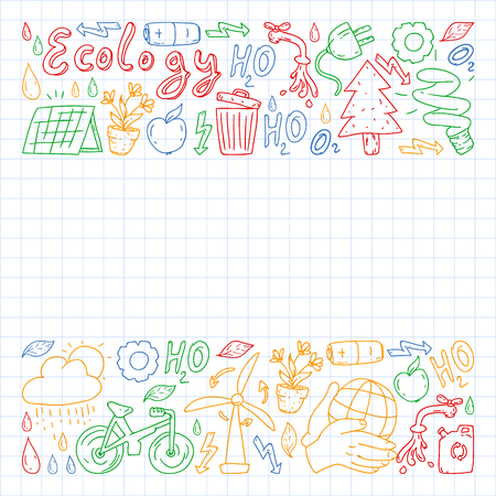Vector logo, design and badge in trendy drawing style - zero waste concept, recycle and reuse, reduce - ecological lifestyle and sustainable developments icons. colorful. drawing on squared notebook