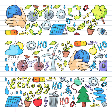 Vector logo, design and badge in trendy drawing style - zero waste concept, recycle and reuse, reduce - ecological lifestyle and sustainable developments icons. pen drawing on exercise book