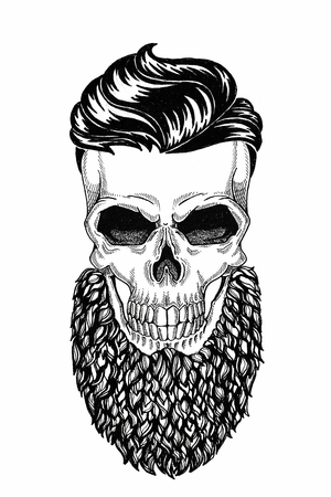 Monochrome illustration barbershop of skull with beard, mustache, hipster haircut and on white background, cartoon, angry, beautiful, brutal