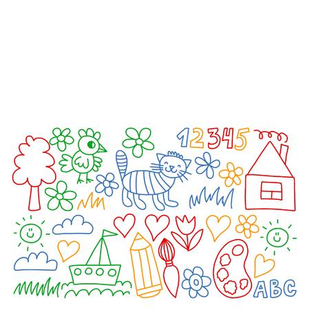 Kindergarten pattern, drawn kids garden elements pattern, doodle drawing, vector illustration, colorful