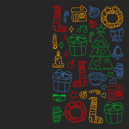Vector set of Christmas, holiday icons in doodle style. Painted, colorful, pictures on a piece of paper on blackboard