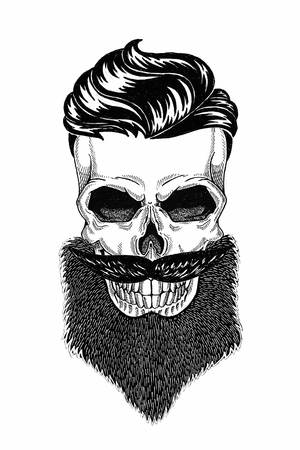 Fryzjer z monochromatyczną ilustracją czaszki z brodą, wąsami, fryzurą hipster i na białym tle, rysunek, zły, piękny, brutalny