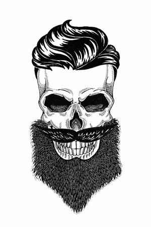 Monochromer Illustrationsfriseursalon des Schädels mit Bart, Schnurrbart, Hipster-Haarschnitt und auf weißem Hintergrund, Karikatur, wütend, schön, brutal