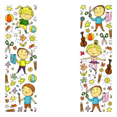 creative kids dancing, sing, playing football, playing guitar, violin, making models from paper Imagens - 124759881