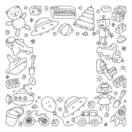 Vector pattern with kindergarten, toy children. Happy children illustration. Monochrome drawing on notebooks in a ruler Imagens - 124944245