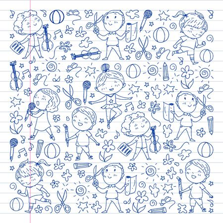 creative kids dancing, sing, playing football, playing guitar, violin, making models from paper. Monochrome pen drawing onwhite background