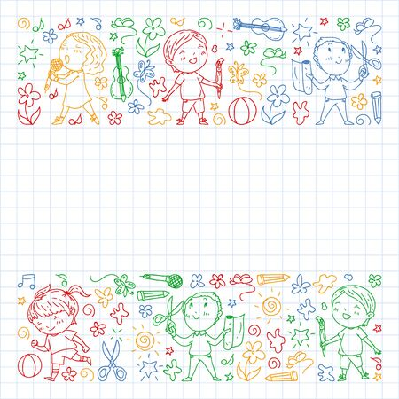 creative kids dancing, sing, playing football, playing guitar, violin, making models from paper. colorful pen drawing on squared notebook Illustration