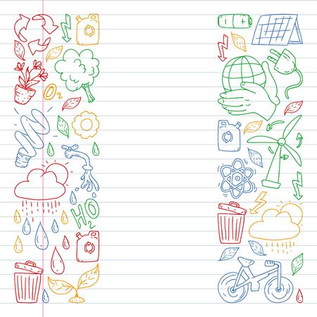 Vector logo, design and badge in trendy drawing style - zero waste concept, recycle and reuse, reduce - ecological lifestyle and sustainable developments icons. Drawing on exercise book