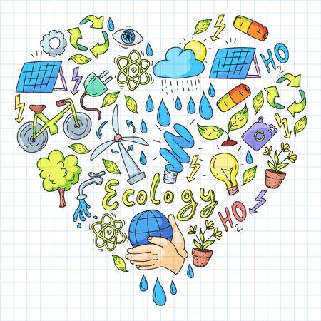 Logotipo vectorial, diseño e insignia en un estilo de dibujo moderno - concepto de cero residuos, reciclaje y reutilización, reducción - estilo de vida ecológico e iconos de desarrollo sostenible. Dibujo en cuaderno cuadrado