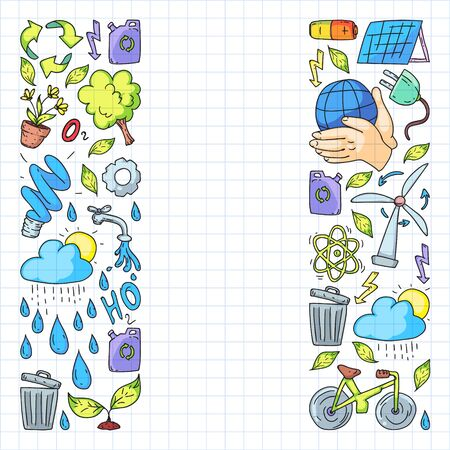 Vector logo, design and badge in trendy drawing style - zero waste concept, recycle and reuse, reduce - ecological lifestyle and sustainable developments icons. Drawing on squared notebook