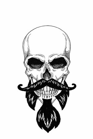 Monochrome illustration barbershop of skull with beard, mustache, hipster and on white background, cartoon, angry, beautiful, brutal