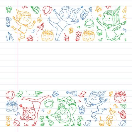 Vector illustration in cartoon style, active company of playful preschool kids jumping, at a party, birthday. colorful draving squared notebook. Drawing on exercise book.