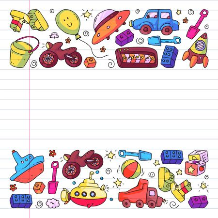Vector pattern with kindergarten, toy children. Happy children illustration. Drawing on exercise notebook
