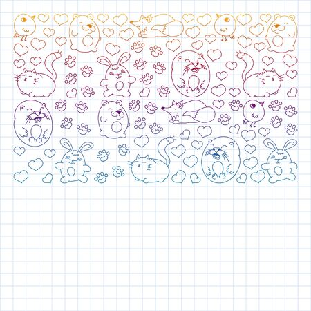 set of beautiful round icons in the form of wild animals for children and design, print, cat ,bear, fox, bird ,hare or rabbit. Round animals with caption on white background. Drawing on exercise notebook in gradient style