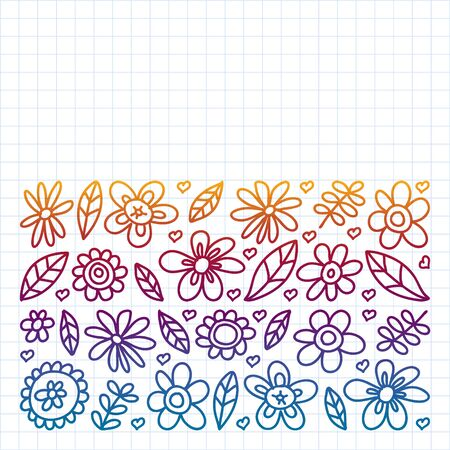 Vector set of child drawing flowers . Painted, colorful, pictures on a piece of paper on white background. Drawing on exercise notebook in gradient style Ilustração