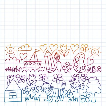 Kindergarten pattern, drawn kids garden elements pattern, doodle drawing, illustration, colorful. Drawing on exercise notebook in gradient style