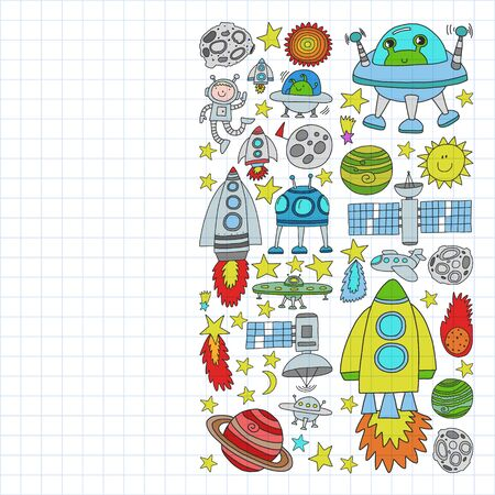 set of space elements icons in doodle style. Painted, colorful, pictures on a piece of paper on white background. Drawing on squared notebook