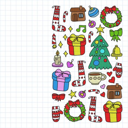 set of Christmas, holiday winter days illustration. New Years pattern, childrens drawings with a teacher icons in doodle style. Painted, colorful, pictures on a piece of paper on white background. Drawing on squared notebook