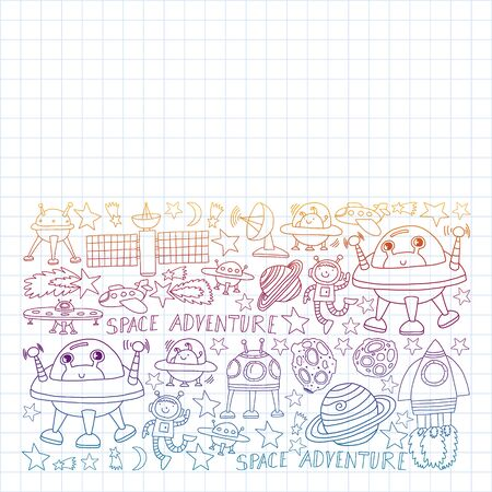 set of space elements icons in doodle style. Painted, colorful, pictures on a piece of paper on white background. Drawing on exercise notebook in gradient style