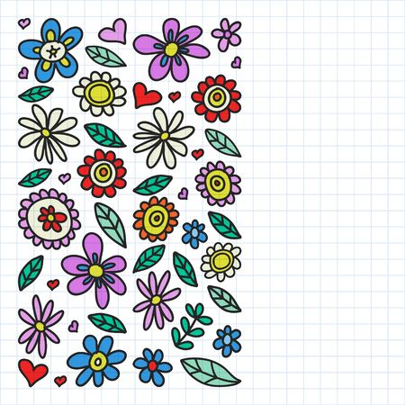 Vector set of child drawing flowers . Painted, colorful, pictures on a piece of paper on white background. Drawing on squared notebook Ilustração