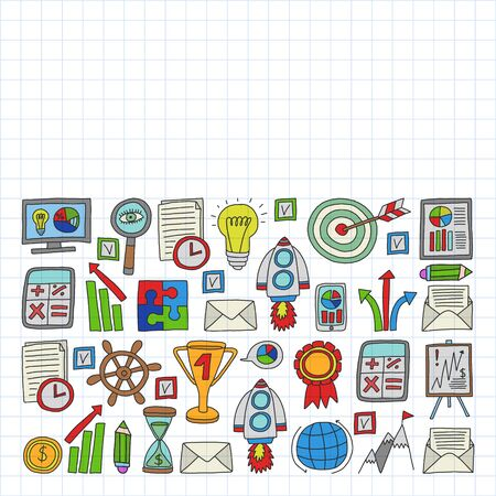 Vector set of bussines icons in doodle style. Drawing on squared notebook Ilustração