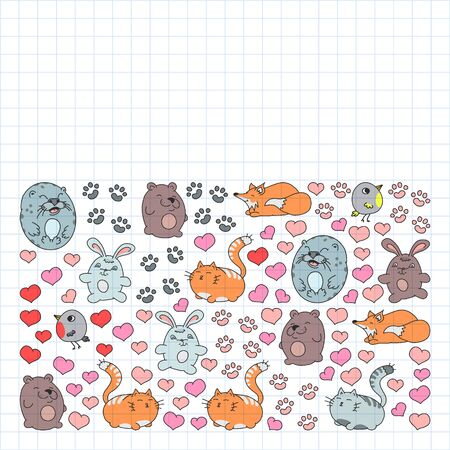set of beautiful round icons in the form of wild animals for children and design, print, cat ,bear, fox, bird ,hare or rabbit. Round animals with caption on white background. Drawing on squared notebook