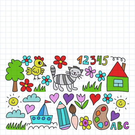 Kindergarten pattern, drawn kids garden elements pattern, doodle drawing illustration, colorful. Drawing on squared notebook