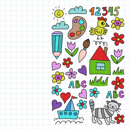 Kindergarten pattern, drawn kids garden elements pattern, doodle drawing, illustration, colorful. Drawing on squared notebook.