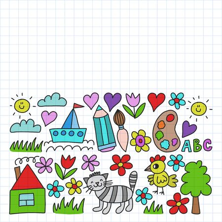 Kindergarten pattern, drawn kids garden elements pattern, doodle drawing illustration, colorful. Drawing on squared notebook.