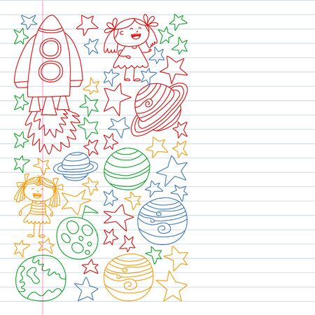set of space elements icons in doodle style. Painted, colorful, pictures on a piece of paper on white background. Drawing on exercise notebook in colorful style. Stok Fotoğraf - 127103757