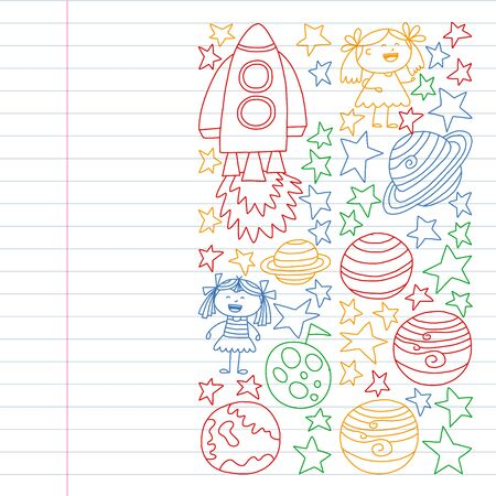 set of space elements icons in doodle style. Painted, colorful, pictures on a piece of paper on white background. Drawing on exercise notebook in colorful style.