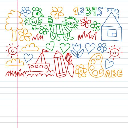 Kindergarten pattern, drawn kids garden elements pattern, doodle drawing illustration. Drawing on exercise notebook in colorful style. Çizim
