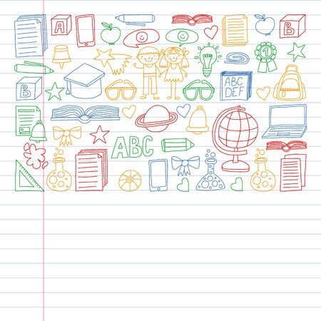 Vector set of Back to School icons in doodle style. Painted, colorful, pictures on a piece of paper on white background. Drawing on exercise notebook in colorful style