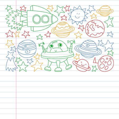 set of space elements icons in doodle style. Painted, colorful, pictures on a piece of paper on white background. Drawing on exercise notebook in colorful style. Stok Fotoğraf - 127103968