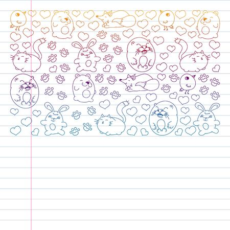 set of beautiful round icons in the form of wild animals for children and design, print, cat ,bear, fox, bird ,hare or rabbit. Round animals with caption on white background. Drawing on exercise notebook in gradient style.