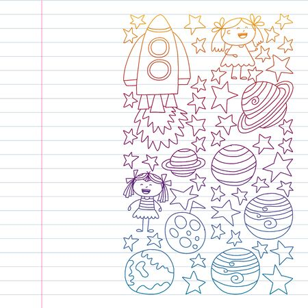set of space elements icons in doodle style. Painted, colorful, pictures on a piece of paper on white background. Drawing on exercise notebook in colorful gradient style.