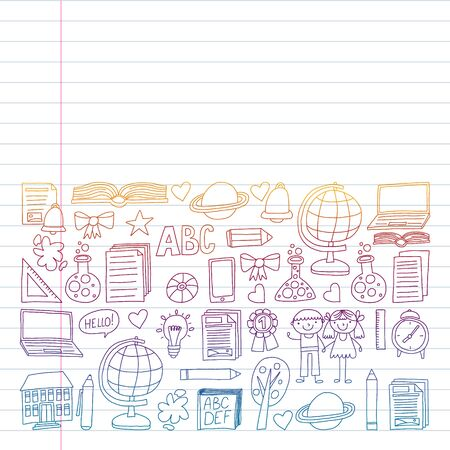 Vector set of Back to School icons in doodle style. Painted, colorful, pictures on a piece of paper on white background. Drawing on exercise notebook in colorful gradient style