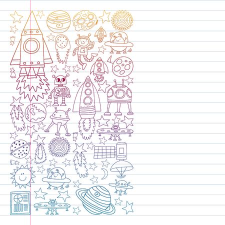 set of space elements icons in doodle style. Painted, colorful, pictures on a piece of paper on white background. Drawing on exercise notebook in colorful gradient style