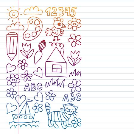 children garden elements pattern, doodle illustration. Drawing on exercise notebook in colorful gradient style Çizim