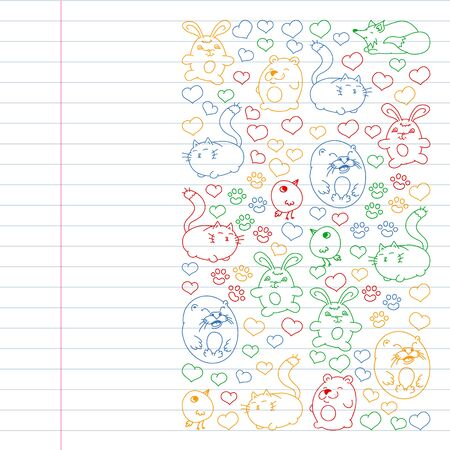 set of beautiful round icons in the form of wild animals for children and design, print, cat ,bear, fox, bird ,hare or rabbit. Round animals with caption on white background. Drawing on exercise notebook in colorful style