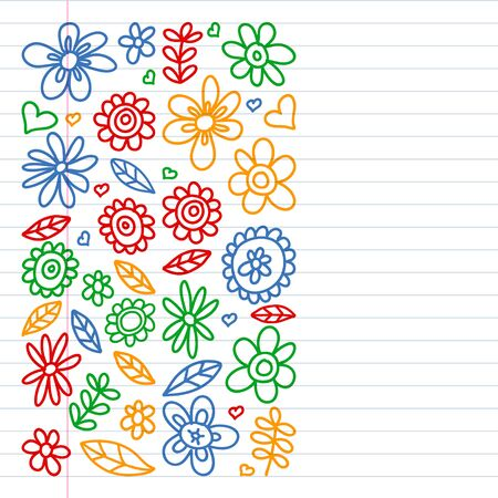 Vector set of child drawing flowers . Painted, colorful, pictures on a piece of paper on white background. Drawing on exercise notebook in colorful style Ilustração