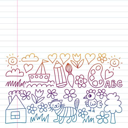 Children garden elements pattern, doodle illustration. Drawing on exercise notebook in colorful gradient style Stok Fotoğraf - 127105218