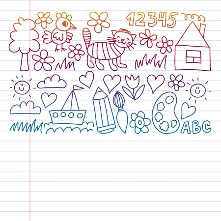 Children garden elements pattern,. Drawing on exercise notebook in colorful gradient style Ilustração